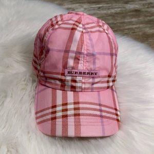 Burberry Girls Pink Plaid Plaid Hat Cap One Size